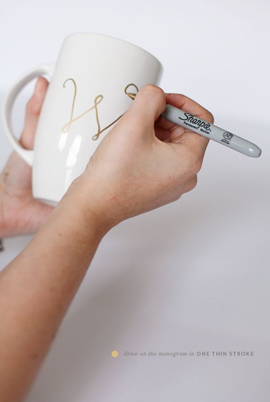 DIY monogrammed gold sharpie mugs