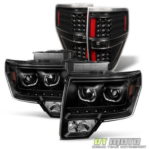 Blk-2009-2014-Ford-F150-SMD-LED-Halo-Headlights-LED-Tail-Lights-Brake-Lamps-Set