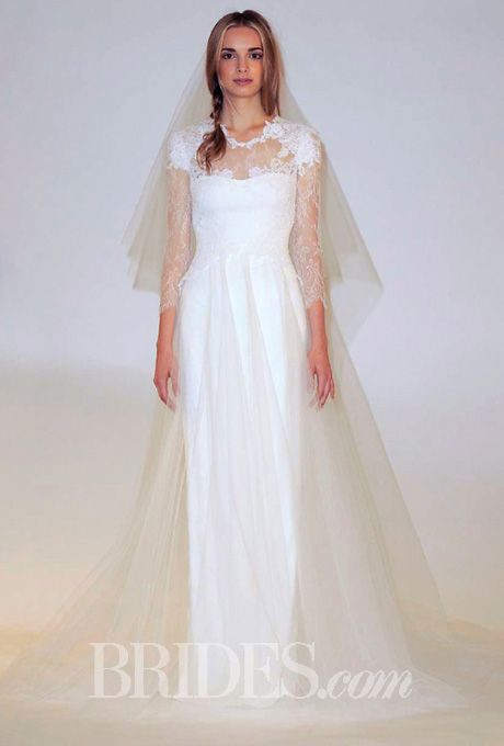Brides.com: Our Favorite Lace Wedding Dresses from the Bridal Runways. Style B10821, chantilly lace peplum bodice with engineered corded lace overlay and tulle column skirt wedding dress, Marchesa  See more Marchesa wedding dresses.