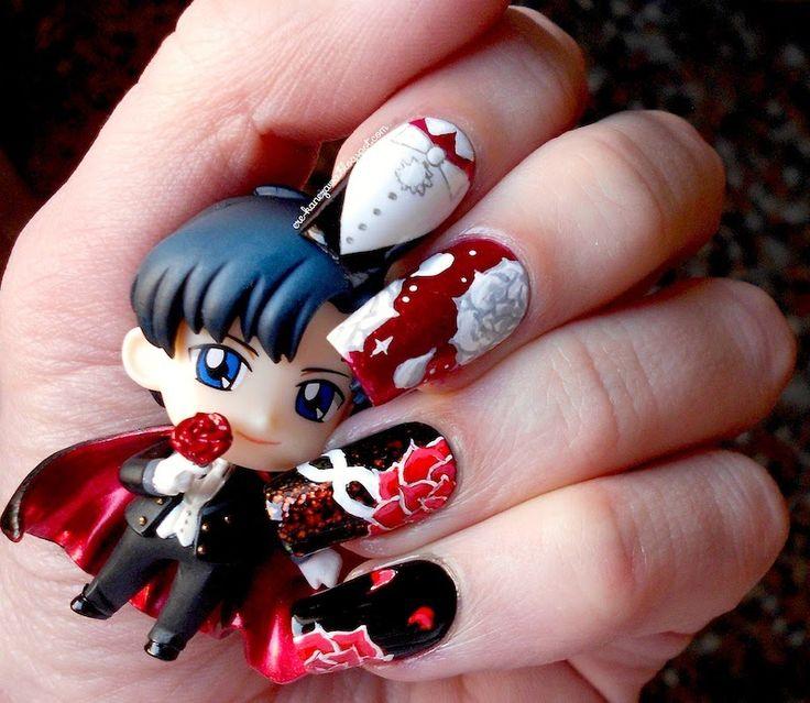 Silvia Lace Nails: Sailor moon collab manicure: Tuxedo Mask
