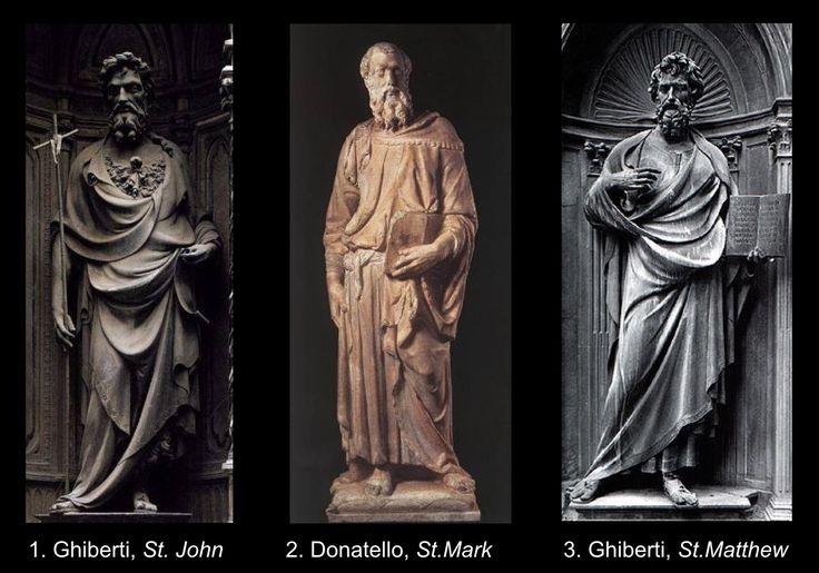Ghiberti 'St. John' Donatello 'St. Mark' and Ghiberti 'St. Matthew'