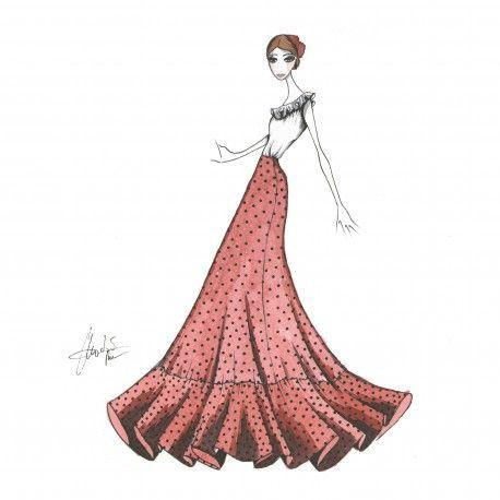 Falda de nejas con volante grande. #moda #flamenca #patrones #volantes #lunares #sketch #dibujo #boceto #pintura #modelo