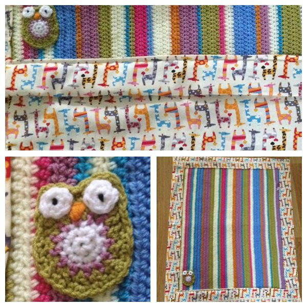 Baby blanket with giraffes and owl