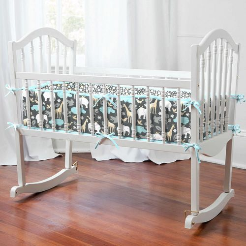 Gray Zoology Cradle Bedding | Carousel Designs 500x500 image