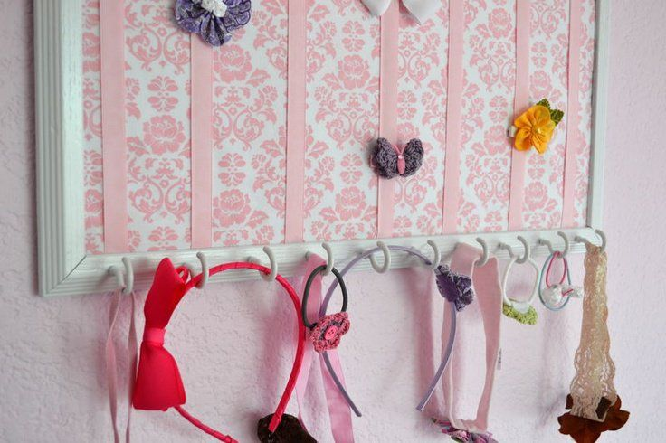 add mug hooks to bottom of hairbow frame for headband storage