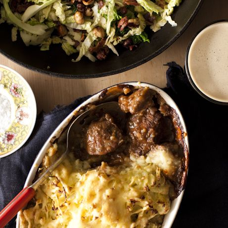Potato-Top Guinness Pie with Savoy Cabbage, Bacon and Hazelnuts By Nadia Lim