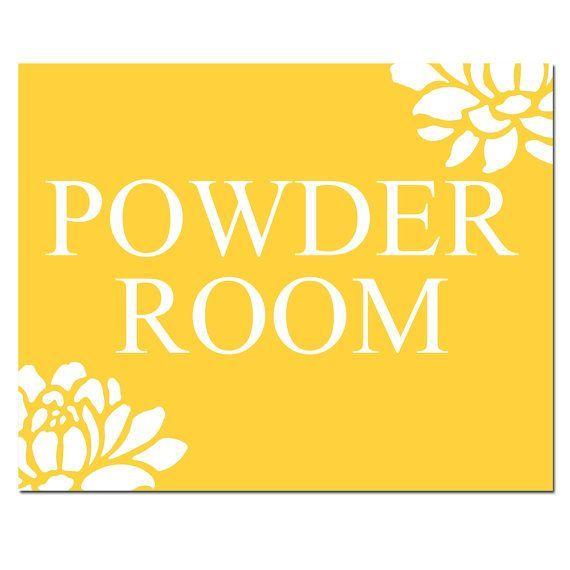 Powder Room Sign Powder Room Print gelb Badezimme…
