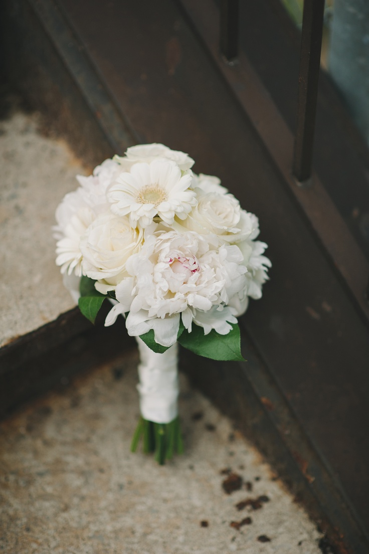 My wedding bouquet! White mini gerberas, roses, and peonies!