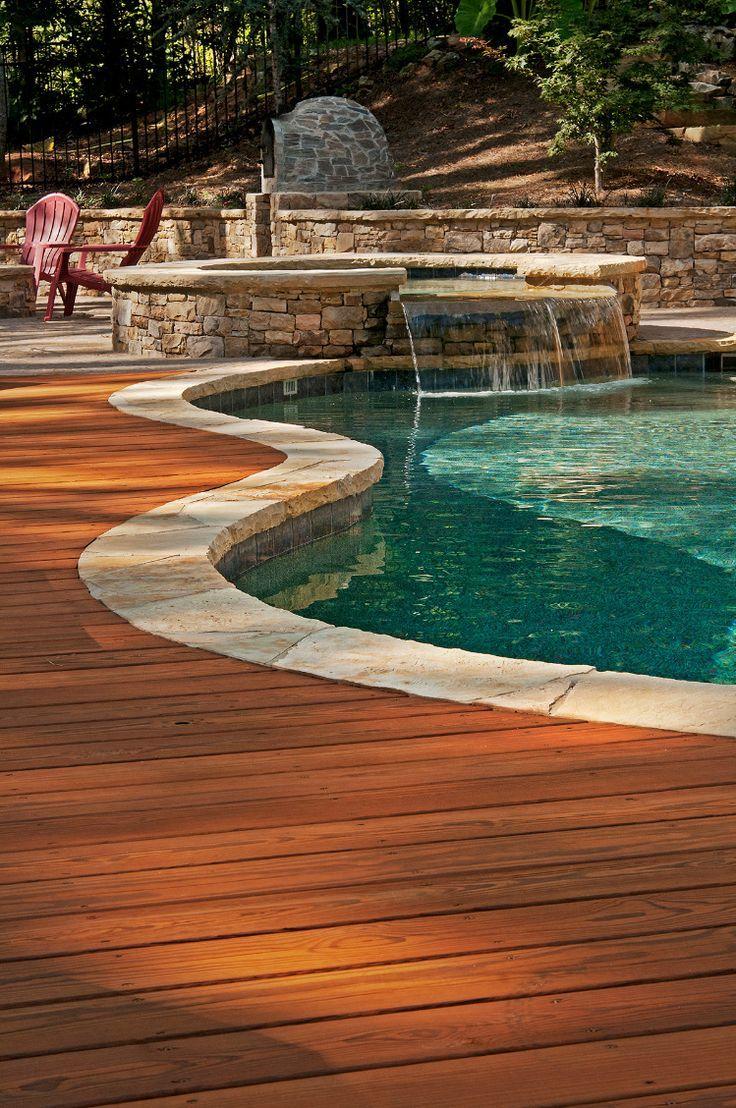 Pt Wood Deck For Pool In 2020 Inground Pool Landscaping Decks Around Pools Wood Pool Deck