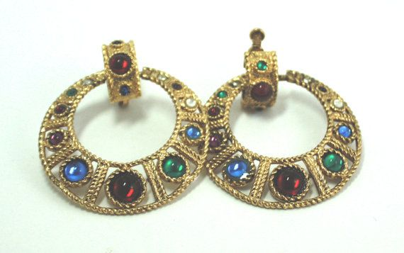 Vintage baroque multi colored earrings by aprilsunrises on Etsy, $30.00