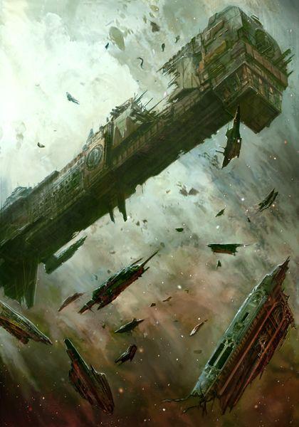 Battlefleet Gothic wrecked Mechanicus ship