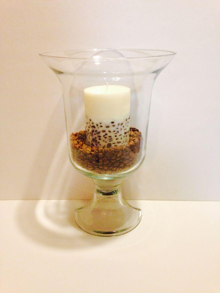 Copa decorada con granos de café y vela!!!! From Marbea Candle!!!