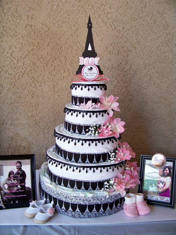 Paris Themed Baby Shower Eiffel Tower Diaper Cake Twin ... |Eiffel Tower Diaper Cake