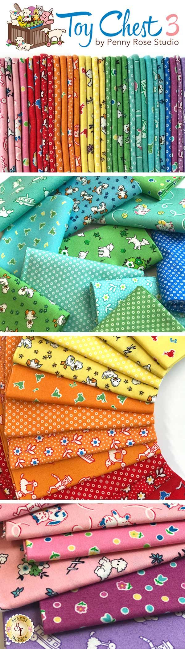 Toy Chest 3 by Penny Rose Fabrics is a whimsical children's collection available at Shabby Fabrics.