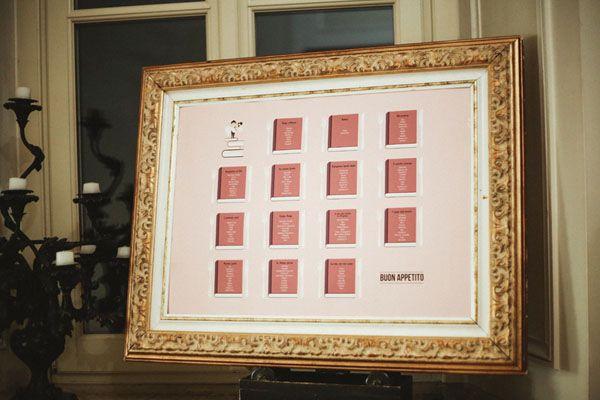 dusty pink and gold seating chart http://weddingwonderland.it/2016/02/matrimonio-romantico-rosa-antico.html
