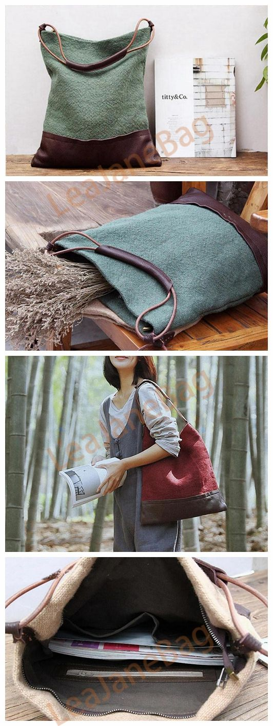 CANVAS TOTE BAG, LARGE CANVAS BAG, FLOWERS BAG, GREEN BROWN BAG,GIFT FOR WOMAN, SHOPPING BAG YY-006