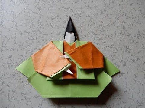 折り紙で雛祭り 華やかなお雛様 頭の折り方作り方 - YouTube