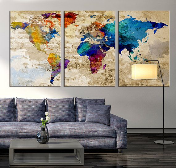 The 119 best watercolor wall art world map images on pinterest world map canvas art print large wall art world map art extra large multipanel world map print for home and office wall decoration size gumiabroncs Images