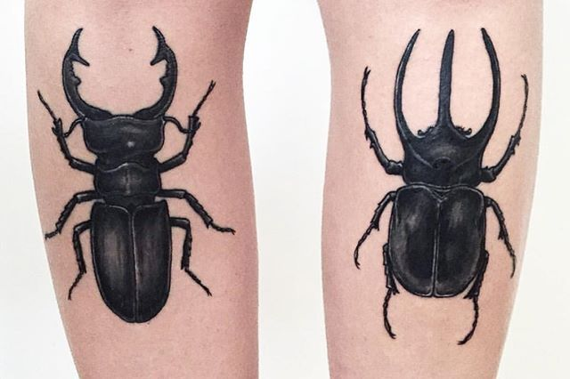 My bestest @helveticaneue doesn't show up in pics a lot, but it's her birthday and she tattooed these awesome beetles on me for my birthday... So kinda relevant? I don't know. Go wish her the happiest birthday and check out her amazing work as well  @helveticaneue
