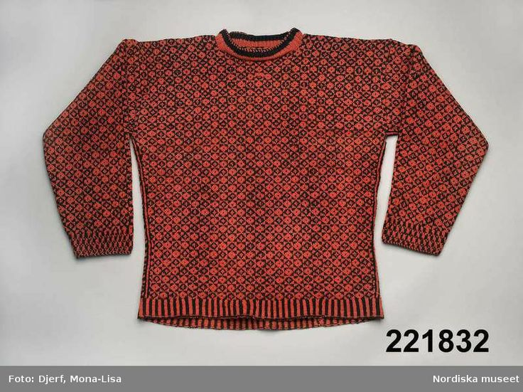 Knitted jumper, colourwork. Made in 1890 by Nelly Norin in Bohuslän, Sweden.