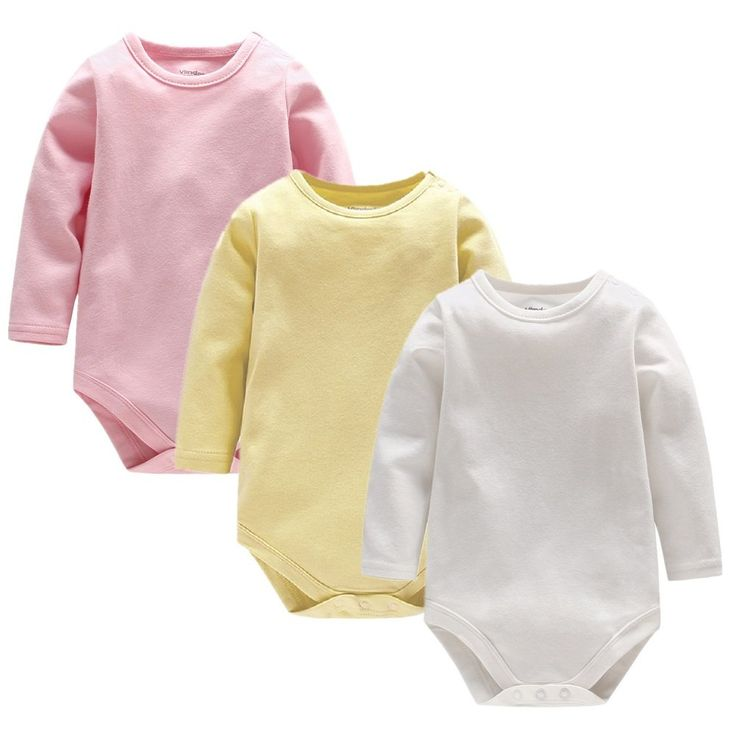 Little Sky Baby 3 Pack Long Sleeve Cotton Solid Color Gown Pajamas Onesies Bodysuits