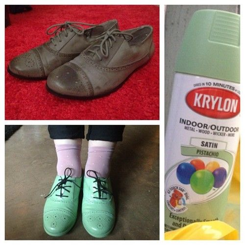 spray painted shoes before and after via spookytvshow.tumblr.com
