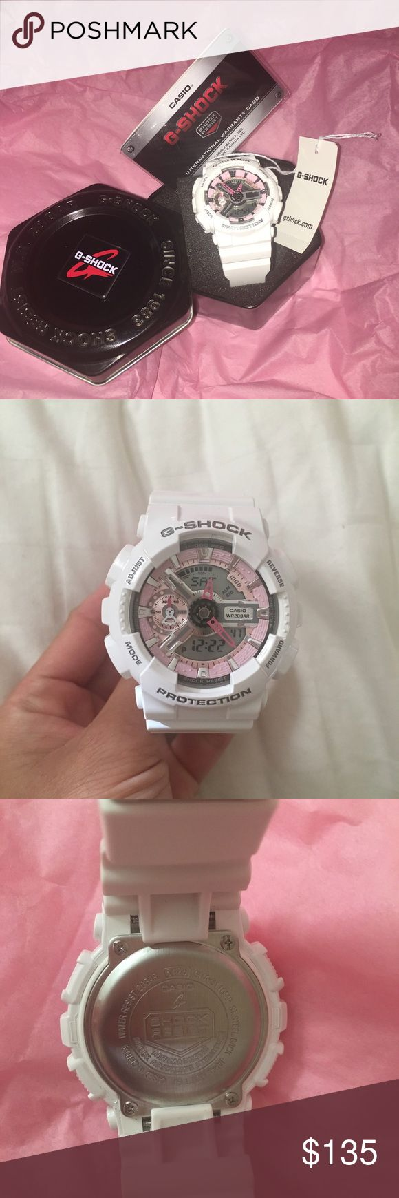 Brand new Casio G shock watch It is a brand new G-shock with tag. Never been worn. Water resistant with the white strap. G-shock Accessories Watches
