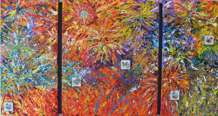 """Original Painting. Oil on Canvas with Palette Knives.  Tryptic, Framed size: 36"""" h x 62"""" w. Title: """"Fireworks"""" - Price: CAD $ 3,360.00. Reproductions and Prints on a variety of media can be ordered on the website."""
