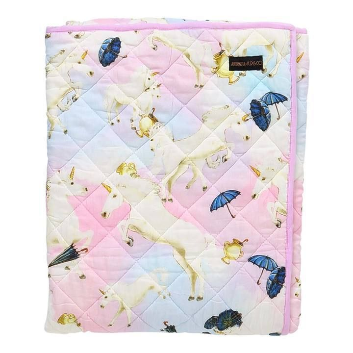 Kip & Co - Animalia Unicorns Quilted Cot Bedspread