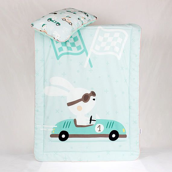 Baby Boy Bedding Set for a crib Racer Rabbit Bunny in car Race