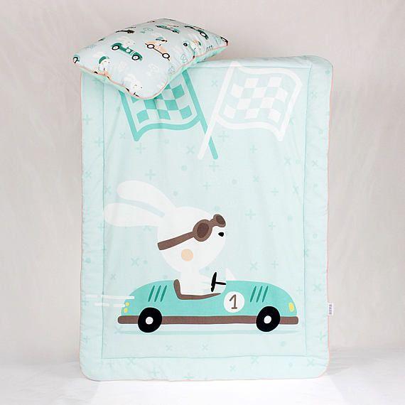 Baby Boy Bedding Set for a crib Racer Rabbit Bunny in car Race