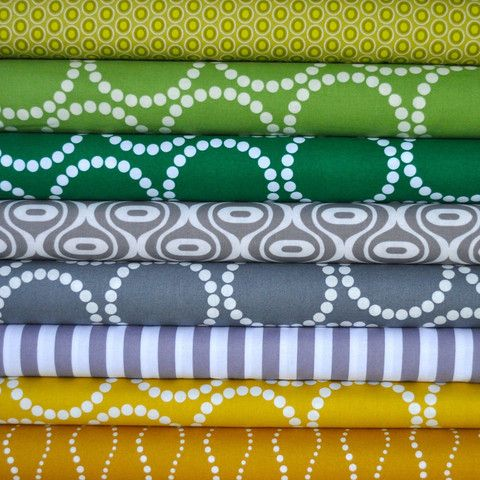 Gray, Green and Yellow Bundle from Cuts of Cotton