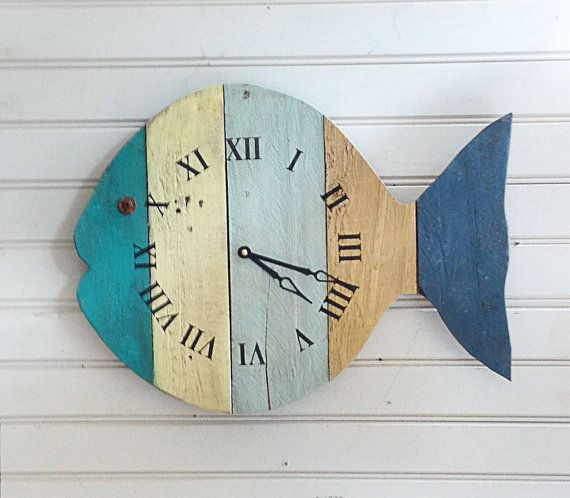 "Rustic Painted Fish Beach Wall Clock - 20"" wide tropical wall art fish clock for a Nautical Theme, Beach Cottage or Coastal Decor."