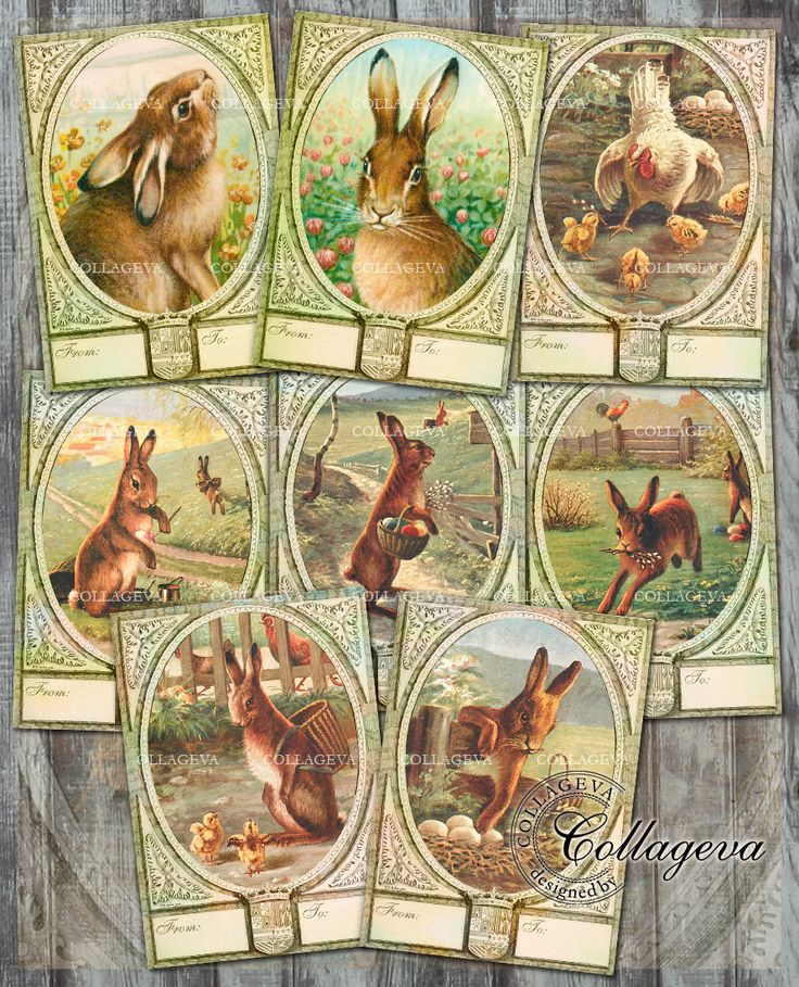 Digital Easter Cards Vintage Labels, Hang Gift Tags, Atc Aceo Printable Collage Sheet, Bunny Rabbit Spring Hen Chicken Chick Clipart (T003-a by collageva on Etsy
