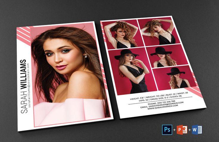 modeling comp card model agency zed card photoshop ms