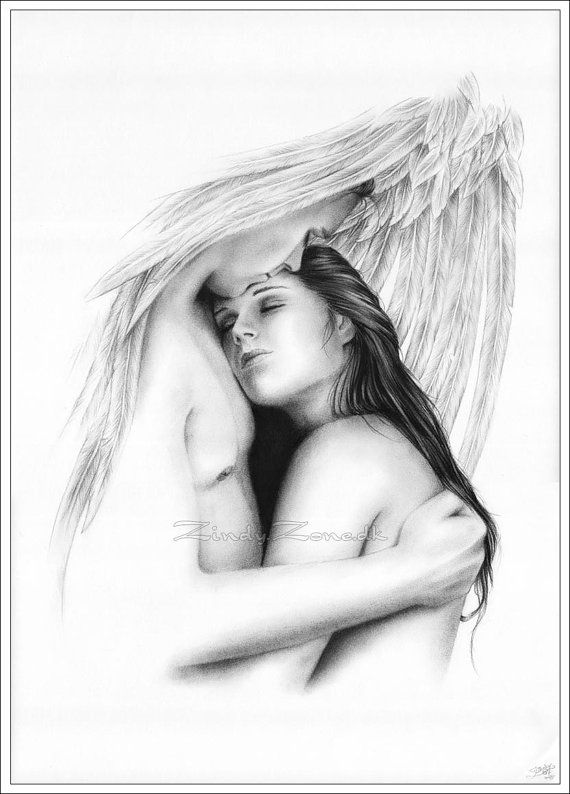 Her Protector Angel Hug Heaven Love Art Print Couple Girl Zindy Nielsen