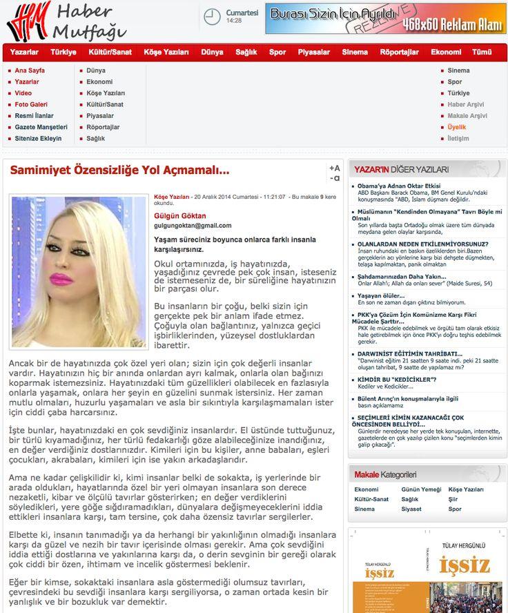 #HaberMutfağı #makale #GülgünGöktan Samimiyet Özensizliğe Yol Açmamalı - http://www.habermutfagi.com.tr/samimiyet-ozensizlige-yol-acmamali-a-554.aspx