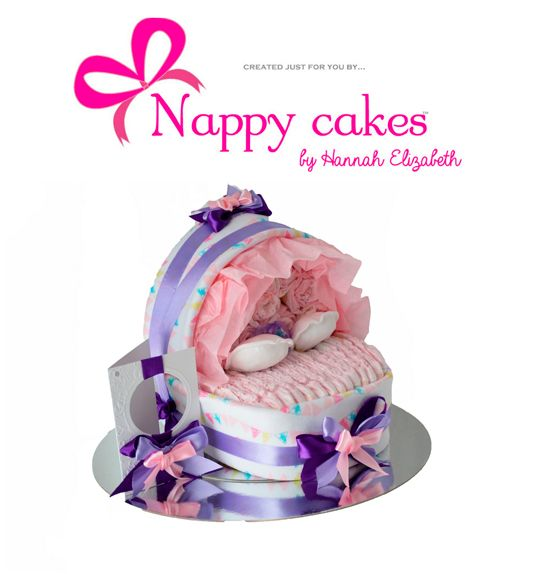 NEW   Baby Bassinet Nappy cake - Baby Cradle Nappy cake - Choose your colours.   Isnt this Darling? This is the Perfect Baby shower gift as its what is coming for the Mum & Dad to be. A little girl all tucked up in her Bassinet. This is full of goddies and you can always add to this gift too.  http://www.nappycakesbyhannahelizabeth.com/apps/webstore/products/show/4405043