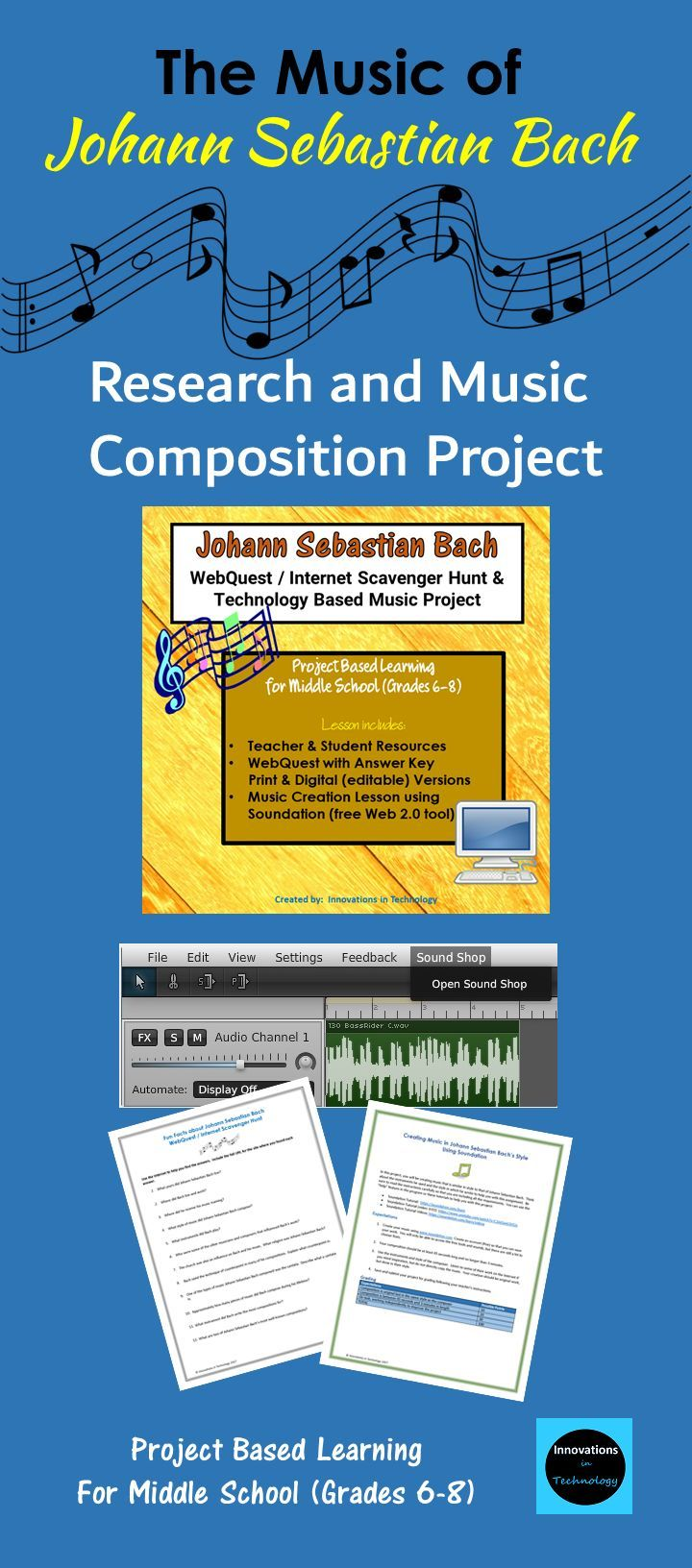 Learn fun facts about Johann Sebastian Bach and his music as they complete a WebQuest (Internet Scavenger Hunt) to answer questions about the topic. Then, they use that knowledge to create a music composition of their own, using Bach's style, using Soundation, a free Web 2.0 music creation and editing program.  Resources, lesson, rubric and answer key included.