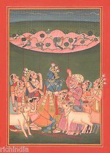 Hindu God Krishna Lila athenic Art Traditional Painting Artist Art Gallery eBay artwork Asia .