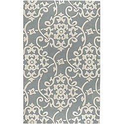 Hand-tufted Grey Floral Rug