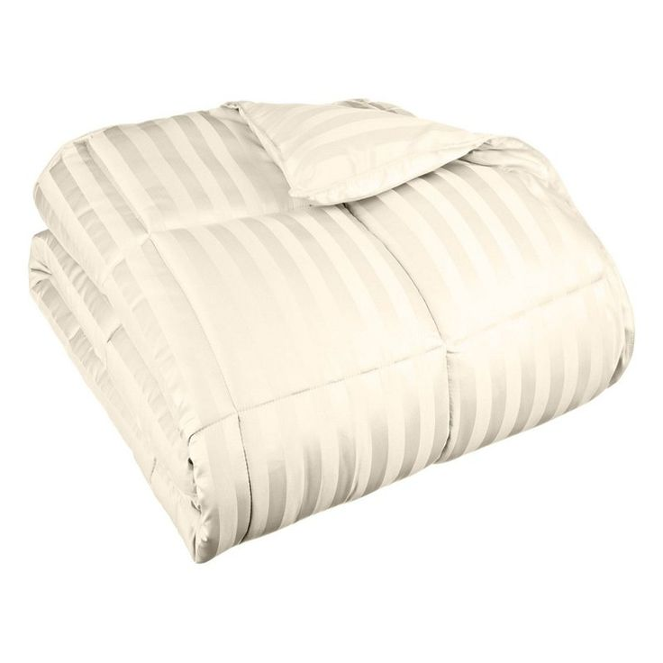 Superior All Season Wide Stripes Down Alternative Comforter Cream - COMFORTER TXL ST-CR (1IN)