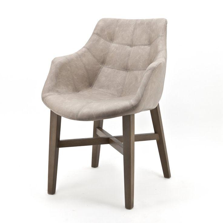 stoel NEBA met armleuning, lederlook, 5 kleuren
