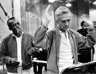 Michael Ochs Archives/Getty Images  Miles Davis watching Gil Evans at work around 1970.