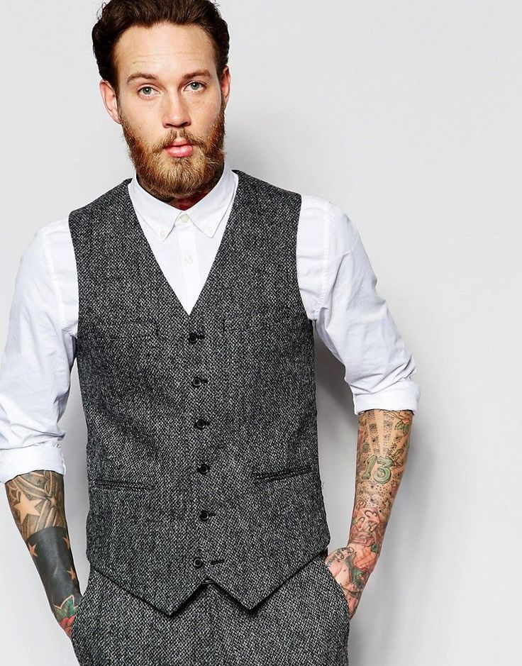 ASOS Slim Vest In Gray Harris Tweed                              …