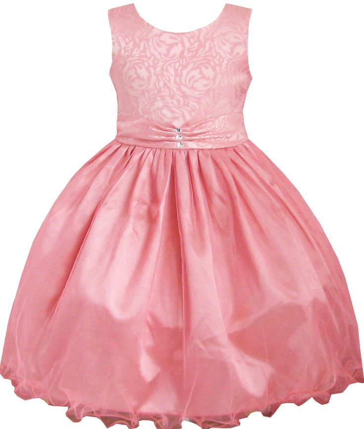 Girls Dress Coral Multi-layers Diamond Pageant Wedding Size 2-12 Years