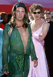 South Park creators Trey Parker and Matt Stone paid homage to two of their favorite red carpet looks (Jennifer Lopez's infamous green Versace dress from the Grammys and Gwyneth Paltrow's cotton candy pink Ralph Lauren gown from the Oscars) when they attended the ceremony as nominees in 2000.   (Academy Awards)