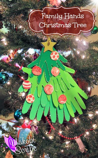 Easy Christmas craft for kids to make using their handprints. You could use it as an ornament or a cute gift.