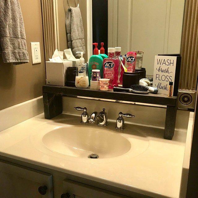 Rustic Wood Shelf Bathroom Sink Shelf Moden Farmhouse Etsy Sink Shelf Small Bathroom Sinks Wood Shelves