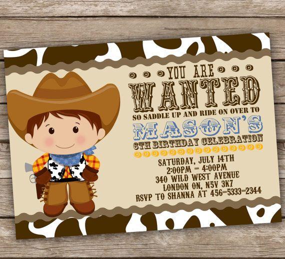 Printable Cowboy Invitation                                                                                                                                                                                 Más